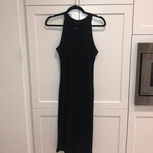 Black racer back ribbed dress